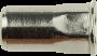 Blindnietmutter kleiner Senkkopf Teilsechskantschaft, Edelstahl A2, M3x9